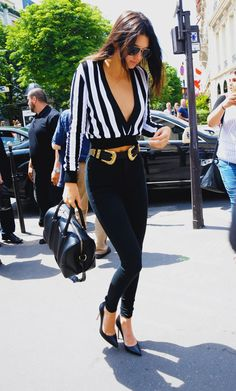 I'm in love with Kendall Jenner's stripes and skinny jeans combo.