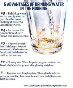 5 Advantages Of Drinking Water In The Morning  Check out my blog for more nutrition and fitness tips