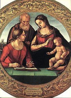 Sacra Famiglia con una santa Autore Luca Signorelli Data 1490-1495 circa Tecnica tempera su tavola Dimensioni 99 cm × 99 cm Ubicazione Galleria Palatina, Firenze