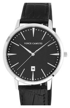 Vince Camuto Leather Strap Watch, 40mm available at #Nordstrom