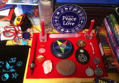jew-witch:  Working on my altar. Put a Star of David medallion in the middle of the centre pentagram, a glass mezuzah containing the She'ma ...