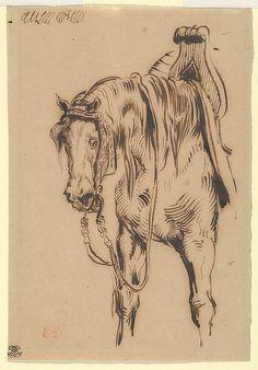 Göetz van Berlichingen's Horse Artist: Eugène Delacroix (French, Charenton-Saint-Maurice 1798–1863 Paris) Date: ca. 1820 Medium: Pen and brown ink on wove paper Dimensions: Overall: 5 1/8 x 7 9/16 in. (13 x 19.2 cm)