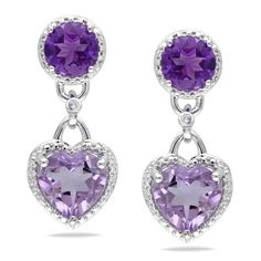These exquisite dangle earrings from the Miadora Collection feature heart-cut rose de France with round-cut amethyst stones and round white diamonds. This classic pair of earrings is set in sterling silver and is secured with butterfly backs.