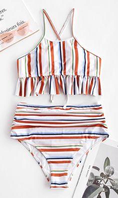 4df179cf49a ZAFUL Lace-up Ruched Striped Tankini Set Style: Cute Swimwear Type: Tankini  Gender