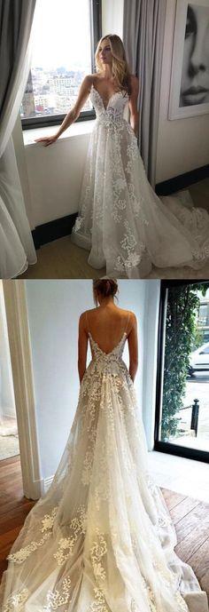 Gorgeous Straps A-line White Long Wedding Dress with Train