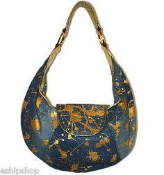 9e3d9f69b3b7 New Junior Drake Gold Studded Metallic Jean Hobo Bag Denim Purse Handbag