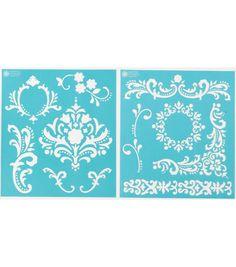 Martha Stewart Medium Stencils 2 Sheets/Pk-Flourish