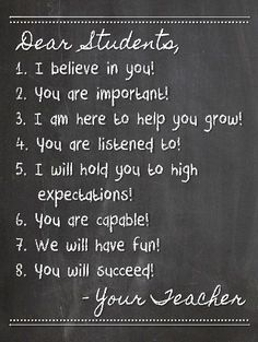 A great message to communication your high expectations for students.
