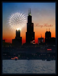 "fireworks over drive in theatre | Fireworks over Chicago"" and the Sears Tower"