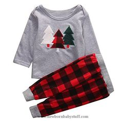 Baby Boy Clothes 2Pcs Kids Toddler Baby Girl Boy Christmas Outfit, Long Sleeve Sweater Tops+Plaid Long Pants Set (2-3 Years, Grey+Red)