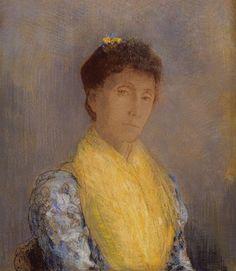 L'écharpe jaune. By Odilon Redon