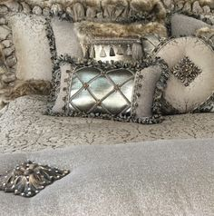 Luxury Versailles Bedding Soft Gray and Tan Damask is combined with Metallic Linen, Smokey Pin Stiped Organza and a Faux Croc Leather for a look that is Subtle and Romantic. The Versailles Collection is rich with Details!