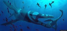 Leviathan  A 36-foot-long Pliosaurus attacks the plesiosaur Cryptoclidus, a marine reptile from the Late Jurassic Period. Also shown: the fish Pachycormus, a shoal of the belemnite Belemnoteuthis, and the ammonite Pectinatites.