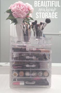 Makeup Storage - The scary part is that I have four of these (without the tops), with two stacked together in two places and they're getting very full. And I have to put palettes in another place!