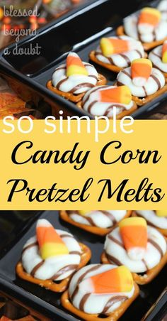 Oh my goodness! These sweet and salty candy corn pretzel melts are so festive and delicious. I love how easy these halloween treats are to whip together.