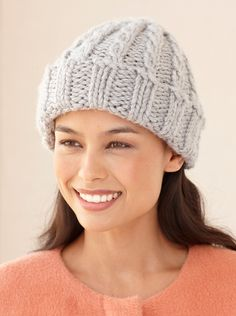 Loom Knit Cable Hat And Wristers - Lion Brand Yarn Loom Knitting Scarf, Loom Knit Hat, Knifty Knitter, Loom Knitting Projects, Cable Knit Hat, Loom Knitting Patterns, Arm Knitting, Knitted Hats, Knitting Ideas