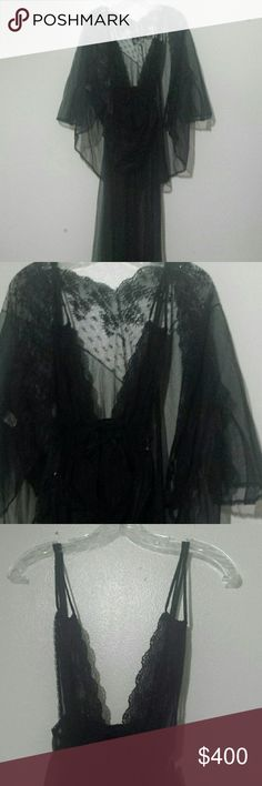 Vintage 3 Pc Sheer Neglige Set  Size L Breath taking new never worn Femme Fatale set you will feel very secure and glamorous in this. True vintage Hollywood regency Pandora  by Chic  Intimates & Sleepwear Chemises & Slips