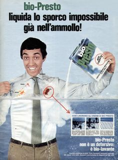 l'uomo in ammollo. Retro Advertising, Vintage Advertisements, Vintage Ads, Vintage Posters, Nostalgia, Italian Posters, Non Plus Ultra, Childhood Days, Hygiene