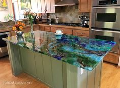 Photos of beautiful, seamless Epoxy Countertops Making Concrete Countertops, Resin Countertops, Kitchen Countertops, Gemstone Countertops, Countertop Kit, Resin Furniture, Luxury Furniture, Resin Table, Kitchen Trends