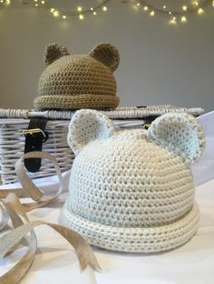 Crochet Club: polar bear and teddy hats!  A free pattern via Love Crochet. Very cute and helpful pics and instructions.