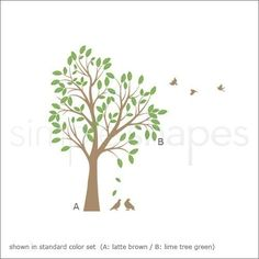 Wall Art - Large Tree with Leaves and Birds Decal  Vinyl Wall by SimpleShapes, $94.00