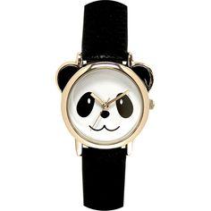 Womens Panda Dial Black Strap Watch ($15) ❤ liked on Polyvore featuring jewelry, watches, accessories, bracelets, relojes, quartz jewelry, quartz wrist watch, buckle watches, buckle jewelry and quartz watches