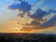 sunset gold oil painting landscape