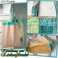Kissenbezug und Stoffreste werden Einkaufsbeutel, Upcycling, Pillowcase -> Shoppingbag, Patchwork & Quiltline Recycling, Upcycle, Burlap, Reusable Tote Bags, Shopping Bags, Scrappy Quilts, Yellow Fabric, Old Clothes, Fabric Remnants