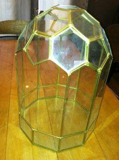 Vintage Leaded Glass Brass Arched Dome Terrarium Curio Display Case Octagon-unique shape-