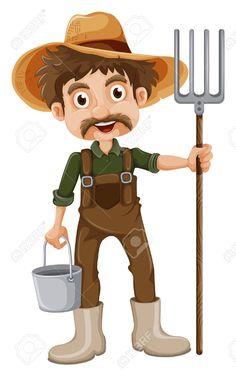Zbiór Illustration of a smiling gardener on a white background grafik oraz ilustracji wektorowych.