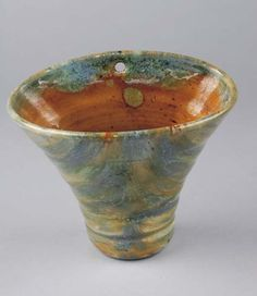 Tasmanian cone shaped pottery wall vase, by John Campbell  Australia, circa 1930, 14 cm high, 16 cm wide