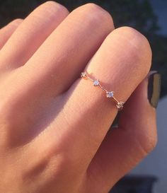 Rose Gold Four Stone Band dainty rose gold ring / by masfemme