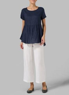 MISSY Clothing - Linen Short Sleeve Pleated Blouse