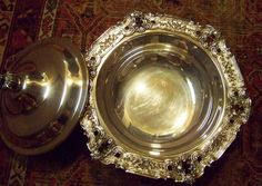 FAMILY ESTATE ANTIQUE USED CHERISHED WELL CARED FOR ITEMS / COLLECTION VIEW LISTED PICTURES.  Fine things now ready for another home.  We always sought things of superb quality and good value = heirloom items.  RARE GORHAM HISPANA SILVER FOOTED COVERED TUREEN BOWL - view our FineThings4sale