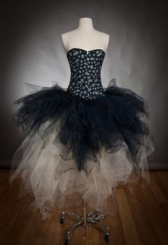 Size Medium ivory and dark blue skulls Denim and tulle burlesque prom dress witch costume Ready to Ship