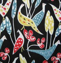 """Vintage 1950's Fabric.This reminds me of a tablecloth my Mom had that I really """"fancied"""""""