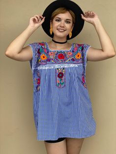 Royal blue gingham style shirt, mexican blouse women, oaxaca summer vacation, EXTRA LARGE checkered top, floral embroidery, fiesta mexicana Mexican Blouse, Mexican Outfit, Mexican Top, Gingham Fabric, Blue Gingham, Petite Models, Picnic Outfits, Romper Pattern, Floral Tunic