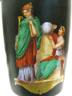 Large Pair of French Porcelain Hand Painted Vases : Lot 0127