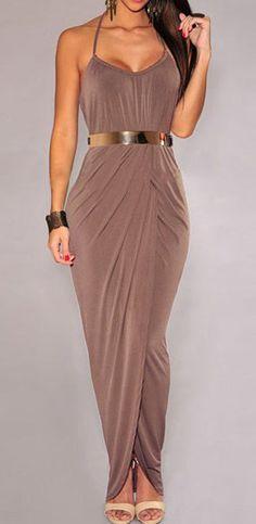 Stylish Halter Side Slit Dress with Belt Maxi #Dress #Lady