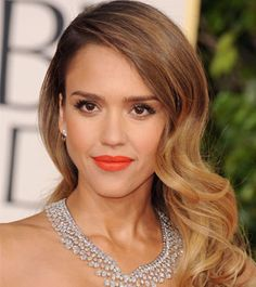 Get The Look: Jessica Alba's Tangerine Lip and Old HollywoodWaves | Daily Makeover