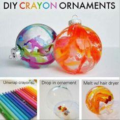 CRAYON DRIP ORNAMENTS http://www.theswelldesigner.com/2012/11/diy-crayon-drip-holiday-ornaments.html
