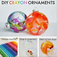 CRAYON DRIP ORNAMENTS http://www.theswelldesigner.com/2012/11/diy-crayon-drip-holiday-ornaments.html