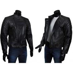 Deniro - leather biker jacket mens. Police style.