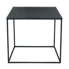 Mesa baja industrial de metal negro con efecto envejecido An. 45 cm Edison