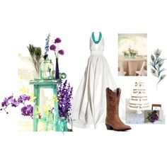 Peacock Feathers, Burlap, Mason Jats Turquoise, Cowboy Boots, My Dream Wedding created by sastrate on Polyvore