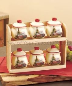 6PC VINEYARD SPICE JAR SET W/ STORAGE RACK WINE BOTTLE GRAPE KITCHEN HOME DECOR