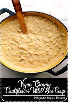 This vegan creamy cauliflower wild rice soup is brimming with good-for-you ingredients yet you'd never know it based on taste. Its savory, rich, and oh-so-creamy base is made with a combination of cauliflower-cashew cream and vegetable broth. Food Network Recipes, Real Food Recipes, Soup Recipes, Dessert Recipes, Cooking Recipes, Cooking Tips, Breakfast Recipes, Dinner Recipes, Chicken Recipes