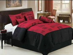 """7 Piece Queen Red Black Chinese Letters Happiness luck Wealth Bedding Comforter Set by BEDnLINENS. $75.99. 100% Polyester , Machine Washable. (1) Bed skirt    (3) Coordinate Cushions. Chinese Letters Happiness Luck Wealth Red Black. 7 Piece Comfoter Sets features:. (1) Comforter 86""""x86""""  (2) Pillow Shams 26""""x26"""". This 7 piece bedding comforter set with unique Chinese letters with all wishes of happiness, luck and wealth to you printed on red ground is another addition..."""