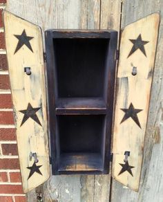 PriMiTiVe Wood Wall Cabinet*Shelves*Pegs*Country Crackle Farmhouse Star Decor*