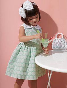 Mint green polka dot girls party dress.